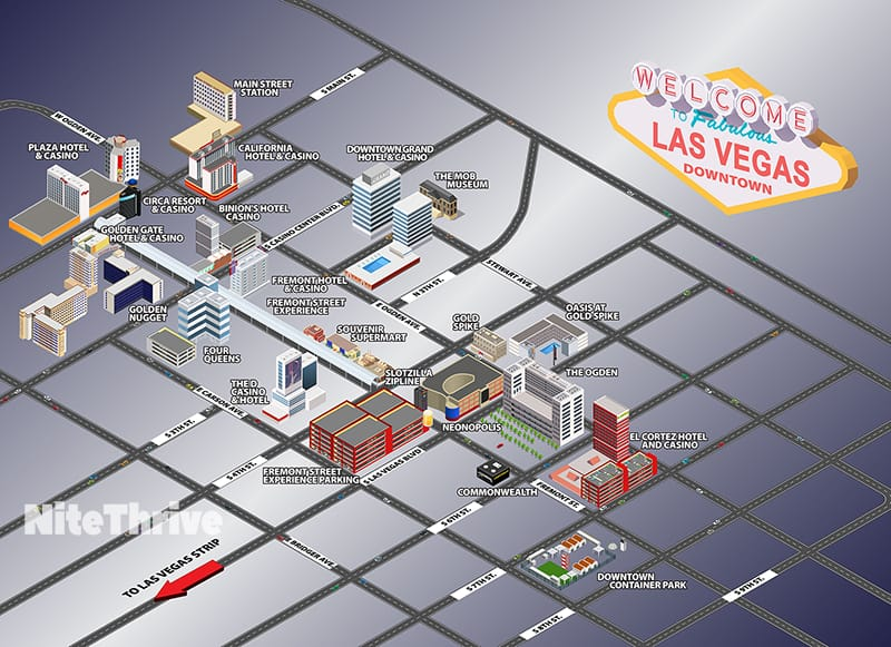 Map of the hotels and casinos on Fremont Street in Downtown Las Vegas.