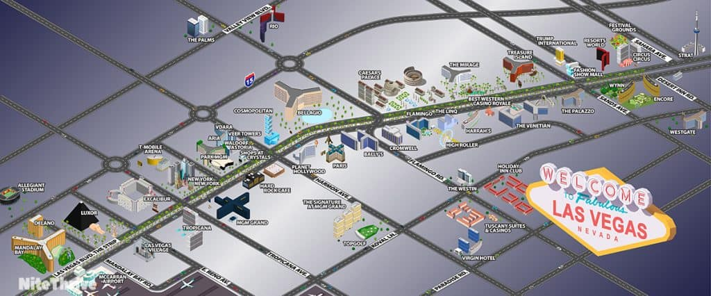 Map of the hotels and casinos on the Las Vegas Strip.